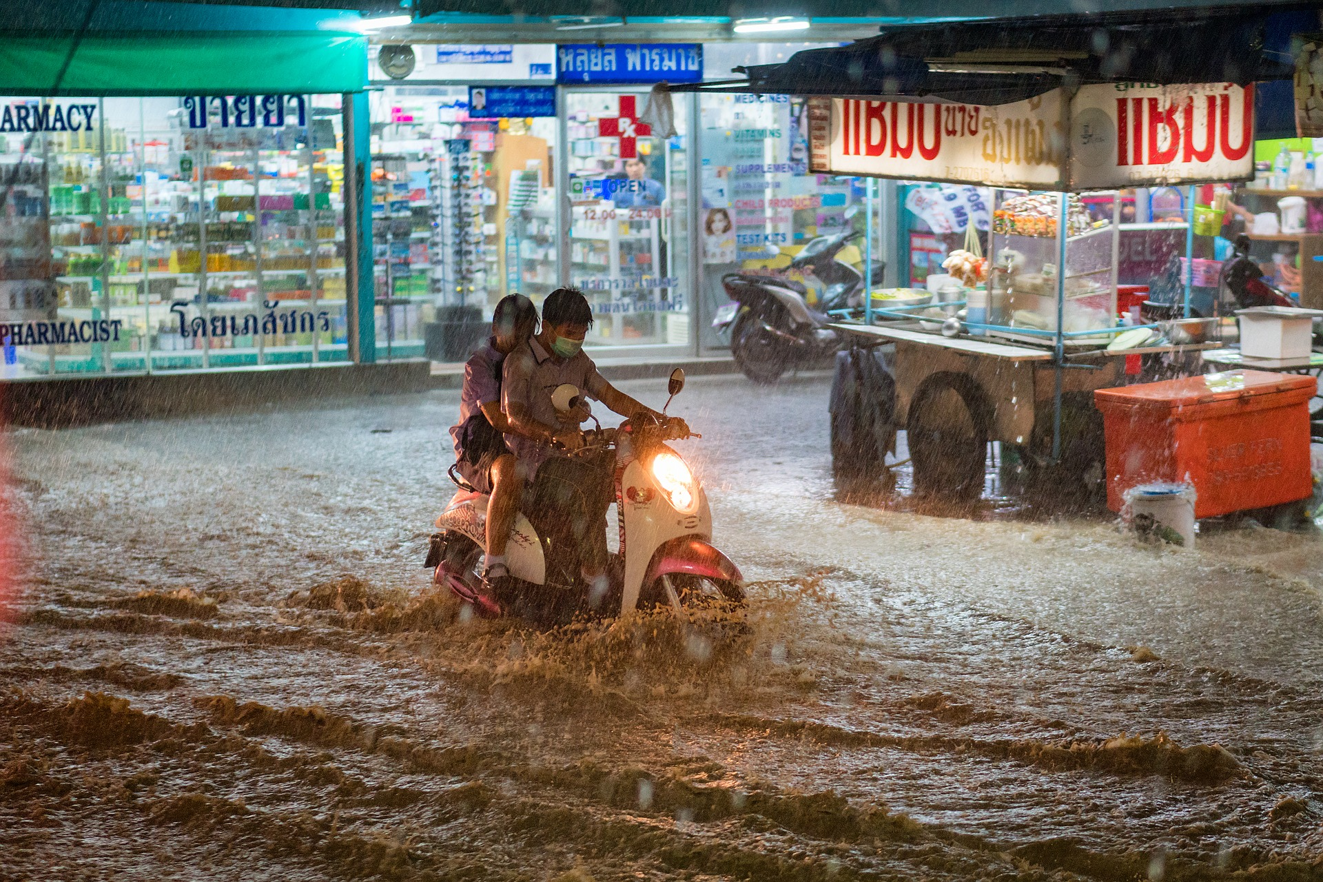 Street fuul of water after rain in Thailand